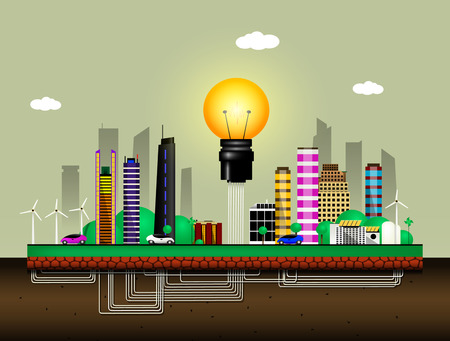 energy needs: Conceptual image of the city of the future. City uses solar and wind energy for its own needs. Vector
