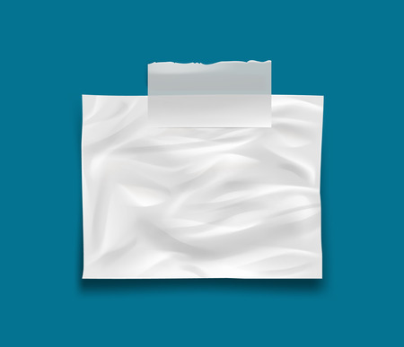 stick note: White crumpled stick note isolated on blue background, vector. Easy to edir