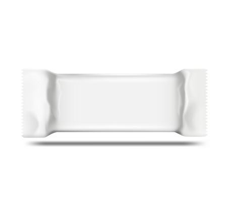 crisp: Blanked white foil sachet for different for various culinary products: cookies, chocolate, cakes. Easy to edit. Vector