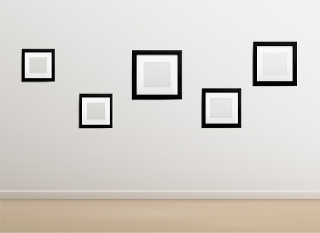 interior decoration: White empty photo studio with photoframes, empty photographer studio background Illustration