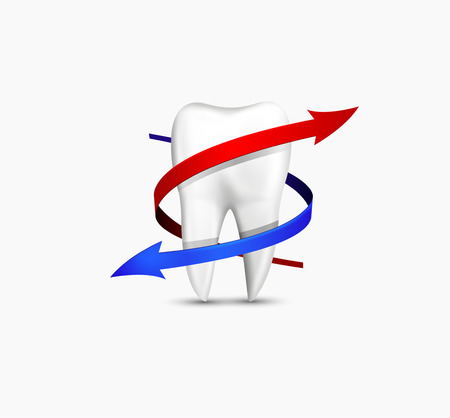 fluoride toothpaste: Realistic 3d vector icon - protected tooth concept with protactive ribbins. Vector