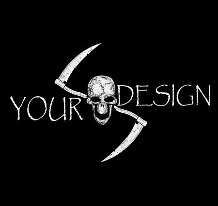 A human skull and crossed reapers on black background. Components of pattern such as skull pattern,inscription, scratch,reapers divided between layers, and easy to use. Vector