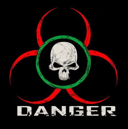 vector skull danger sign: Vector sign warning of the danger. Components of pattern such as skull pattern,inscription, scratch,symbol divided between layers, and easy to use. Vector Illustration