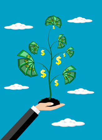 investment concept: business man hand money growth investment concept vector