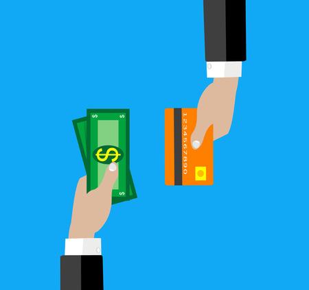 efectivo: Ilustración vectorial de la mano con la tarjeta de crédito y dinero en efectivo para su diseño