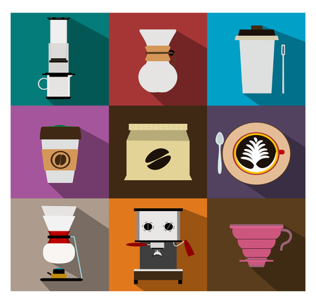 siphon: Coffee shop Icons vector
