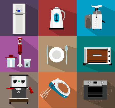 coffee blender: Set of kitchen appliances flat icons  with juicer, dishes, stove, refrigerator, coffee maker, blender, mixer, kettle