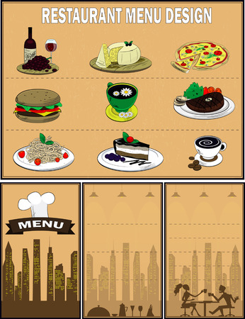 cheese cake: Vector. Restaurant menu design with food icons such as burger,pasta,pizza,cake,meat dish,tea,coffee,cheese,wine. Illustration