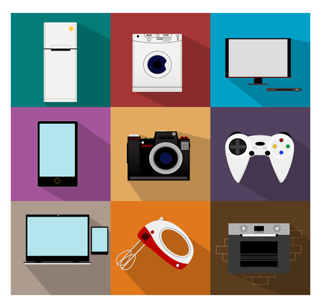 game console: Flat modern kitchen appliances such as refrigerator, washing machine, TV, computer, mixer, phone, camera, cooker, game console, laptop Vector