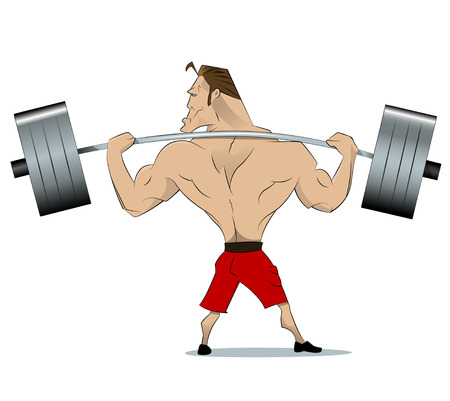 comical: Comical athlete with a barbell on your shoulders. View from the back. Vector
