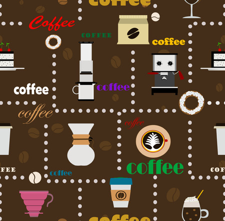 siphon: Coffee Seamless Background. Vector