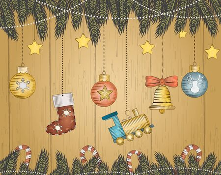 new year eve beads: Christmas hand drawn decorative postcard with xmas toys and balls.Vector illustration Illustration