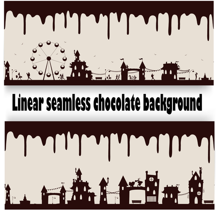 melted chocolate: Two different seamless repeatable melted chocolate flow down patterns with fun cartoon images. Vector Illustration