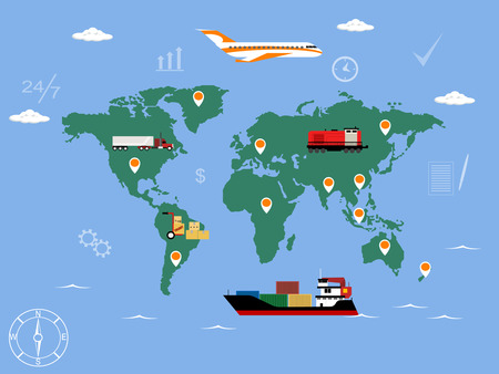 fast shipping: Fast delivery business concept in flat style with map background. Vector