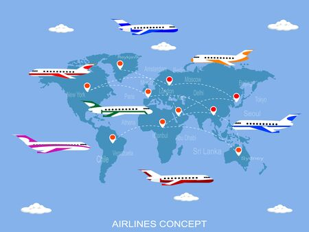 air travel: Vector illustration sky travel with the world map Illustration