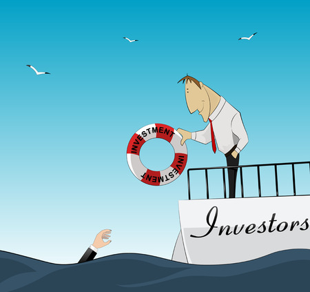 the help: Investor throws lifebuoy business owner. Finance help. Vector Illustration