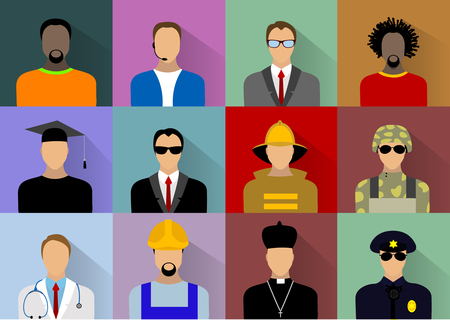 officer: Set of people workers in uniform icons in flat style with faces:firefighter, musician, agent, teacher, businessman, student, military, doctor, priest, builder, call center. Vector