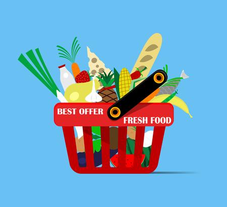 basket icon: Basket with foods on blue background. Vector Illustration