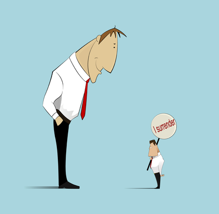 which one: Illustration depicting two business opponents, one of which capitulated under the pressure of arguments.