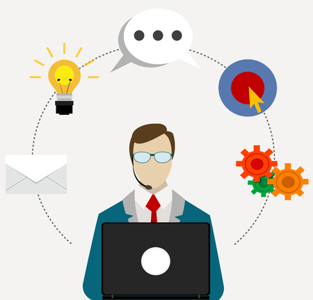 24h all the time customer support center via phone mail operator service icons concept vector illustration Illustration