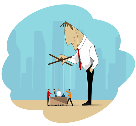 executing: The image on the theme of manipulation in the business, social, financial sector, and can be used in the design on the topics of leadership, management and control of workers. Vector