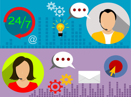 customer support: Customer service banners set with call center support feedback. Vector illustration