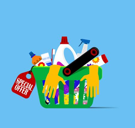 Basket with hygiene items and household cleaning products such as shampoo, toothbrush, gloves, detergents and soaps