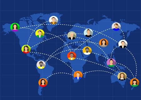 world map blue: people connected all around the world. Vector Illustration