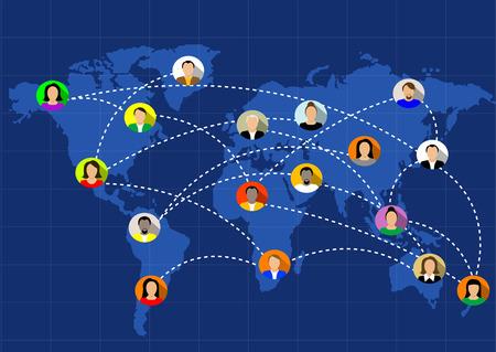 conectar: personas conectadas en todo el mundo. Vector