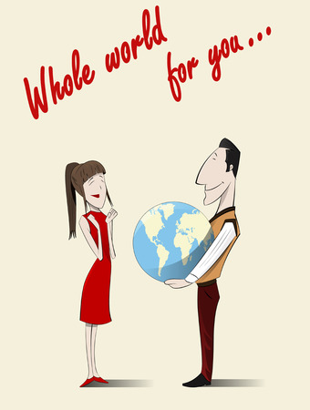 drive around the world: Couple in love. Drawing on the theme of love, and travels. Vector