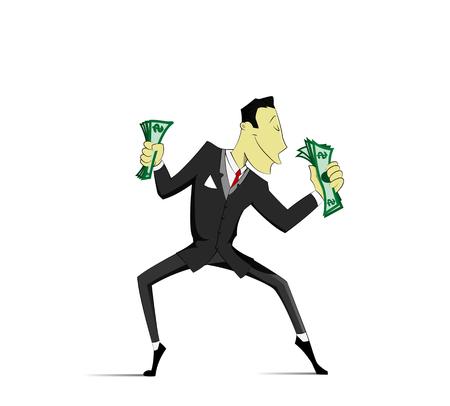 business funds: Funny dancing businessman. Vector Illustration