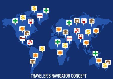 conceptual maps: Una imagen conceptual de los mapas tur�sticos que indican museos, gasolineras, bancos, hoteles, hostales, restaurantes, cafeter�as, hospitales