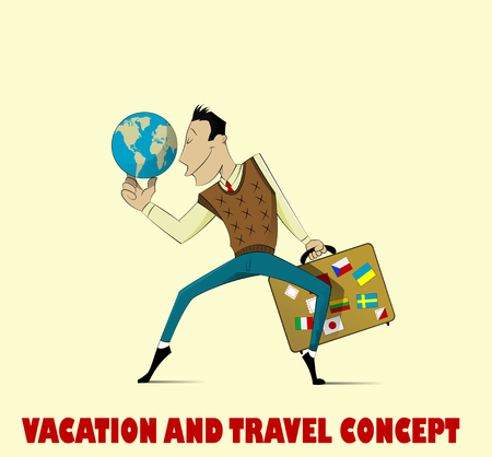 adult hand: Very happy man going on vacation. Vector Illustration