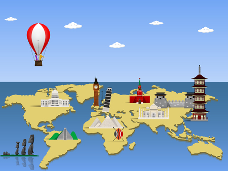 boeing: Travel the world monument concept. Vector illustration