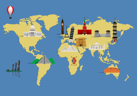 civilization: illustration of world famous monument with map.