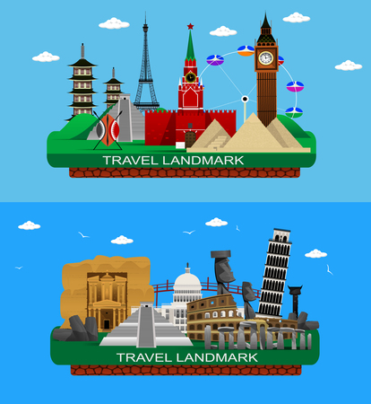 petra: Vector illustration of flat design composition with famous world landmarks.