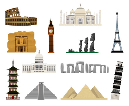 Monuments modern flat icons such as South American pyramids, Egyptian pyramids, Eiffel Tower, Big Ben, Monuments of Easter Island, Petra, Stonehenge, the Colisseum, the Leaning Tower of Pisa, Taj Mahal, White House, pagoda.