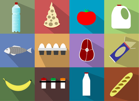 continental food: Food icons such as baguette, eggs, steak, cheese, water, milk, tomato, banana, pasta, spices, fish,baguette, eggs, steak, cheese, water, milk, tomato, banana, pasta, spices, fish.  Illustration