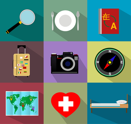 translator: Traveling and transport Flat icons for Web such as travel bag, hostel, hotel, navigation, search, translator, phrasebook, insurance card, insurance, medicine