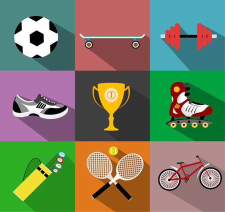roller skates: Set of sport icons in flat design with long shadows like cup, shoes, boots, roller skates, skate, skateboarding, golf sticks, tennis, bicycle .