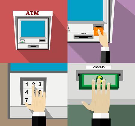 automatic transaction machine: ATM dep�sito de dinero de la m�quina y la retirada. El pago mediante tarjeta de cr�dito. Estilo plano.