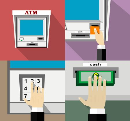 withdrawal: ATM machine money deposit and withdrawal. Payment using credit card. Flat style.  Illustration
