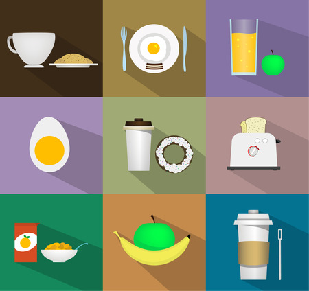 Breakfast fresh food and drinks flat icons set with coffee and a croissant, scrambled eggs with bacon, apple juice, boiled egg, coffee and donuts, toast, fruit, cereal, coffee in the cup.