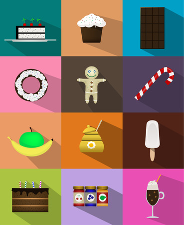 honey cake: Set of sweet food icons flat style with shadow. cake, cupcake, chocolate, donuts, cookies, candy, fruit, honey, ice cream, chocolate cake, jam, smoothies Illustration