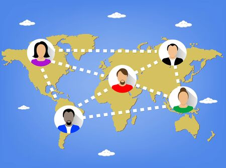 flat globe: Social media network. Background with lines, circles and  icons. Connected symbols for digital, interactive, market, connect, communicate, global concepts.  Illustration