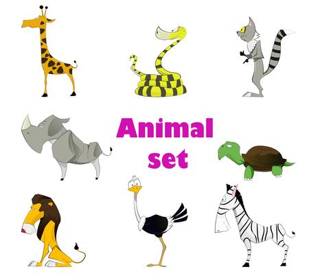zoologico: Ilustraci�n vectorial de conjunto de animal lindo incluyendo avestruz, rinoceronte, una pit�n, una boa constrictor, lemur, la cebra, la tortuga, el le�n. Vector. Capas
