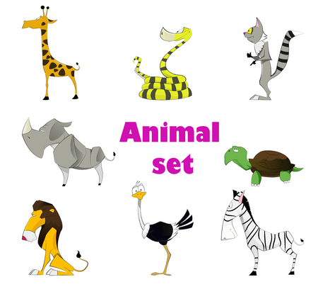 boa: Vector illustration of cute animal set including ostrich, rhinoceros, a python, a boa constrictor, lemur, zebra, turtle, lion. Vector. Layered Illustration