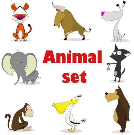 zoo: Set of animals. Cartoon and vector isolated characters. Illustration