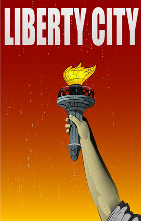 flaming torch: Illustration of Liberty lady monuments hand holding the torch. Vintage style
