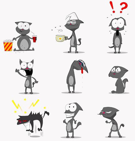 media love: Set Social Media Sticker with funny cat. Vector